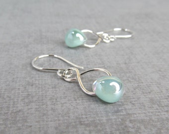 Pearly Seafoam Green Dangles, Silver Wire Earrings Seafoam, Light Green Earrings, Lampwork Earrings Green, Sterling Silver Earrings Infinity