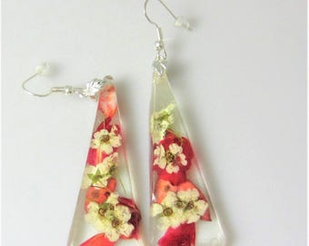 Pomegranate and Bridals Veil, Real Flower Earrings, Pressed Flowers, Resin (2014)