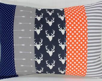 Pillow Cover, Woodland Nursery Decor, Nursery Pillow, 12 x 16 Inches, Navy, Navy Blue, Grey, Gray, Orange, Deer, Arrows, Tribal, Buck, Stag