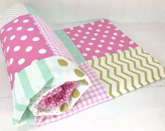 Baby Girl Blanket, Minky Blanket, Crib Bedding, Mint Green, Gold, Lavender, Purple, Orchid, Lilac, White, Boho Nursery Decor, Gold Nursery