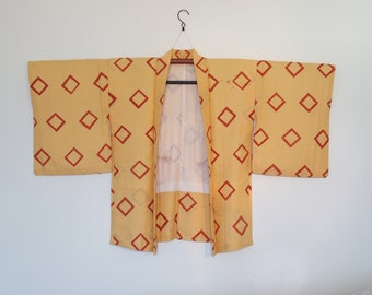 Orange Kimono Cardigan With Red Abstract Pattern Vintage Japanese Haori 二