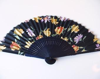 Fan Japanese Sensu Hand Fan Blue With Yellow Flower Pattern