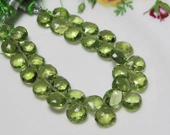 10 Beads of Sparkling Natural PERIDOT Faceted Heart Briolettes