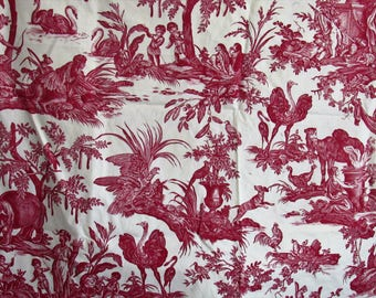 Vintage Fabric 2.25 YARDS Cowtan and Tout Le Brun  Toile Print  Red Eggshell Cream Wild Animals Classical Motif