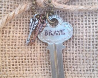Hand Stamped Key - BRAVE