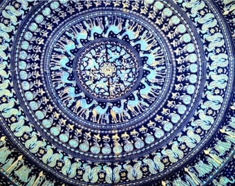 Vintage 70s 80s Tapestry Blue Camel India Cotton Bedspread Wall Decor