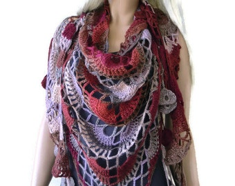 Earthbound  Bohemian crochet scarf-multicolor Super lacy Crochet scarf with fringes-Silk and mohair-Handmade