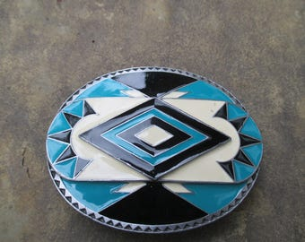 Siskiyou Belt Buckle, Cowboy attire, turquoise white black enamel,  Rodeo belt buckle made in USA