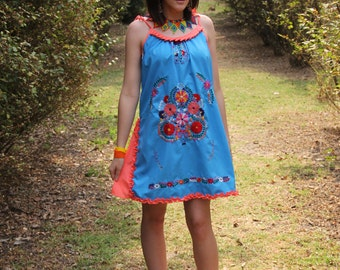 Turquoise, coral peach  and multi colored One of a kind Hand Embroidered Mexican Spaghetti strapped dress