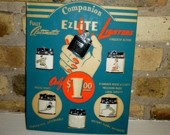Vintage EZLite Store Display with Girlie Pinup Lighters. 6 Unused Lighters. Circa Late 1950s. Original Store Display. Lighters Made in Japan