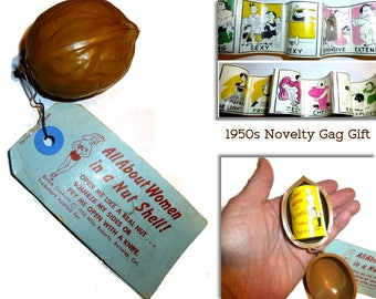 "1955 Gag Gift. ""All About Women in a Nutshell"" Novelty Plastic Nut with Cartoon Booklet Inside. Vintage Bachelor Party. Nudge Wink Gift."