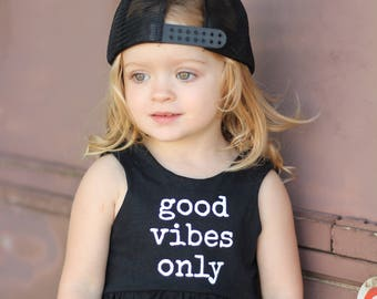 Good Vibes Only dress, peplum, or crop top- BLACK AND WHITE