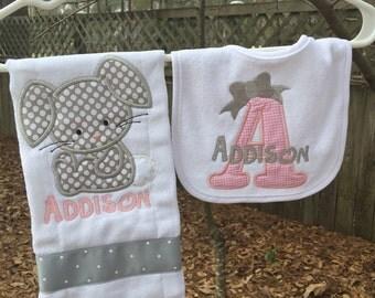 Baby Bunny bib & burbcloth set