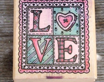 Rubber Stampede  Wood Mounted Rubber Stamp Country Love