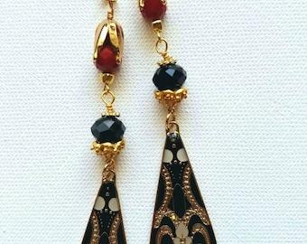 Long gold earrings, art deco earrings, dangle gold earrings, statement piece earrings, dangle drop earrings, boho bead earrings