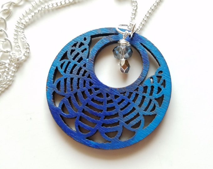 Hand painted wood, Filigree wood pendant, blue necklace, wood pendant, boho pendant, painted wood pendant, wood jewelry, laser cut necklace