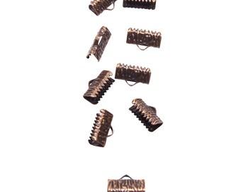 50pcs.  13mm  (1/2 inch)  Antique Copper Ribbon Clamp End Crimps - Artisan Series