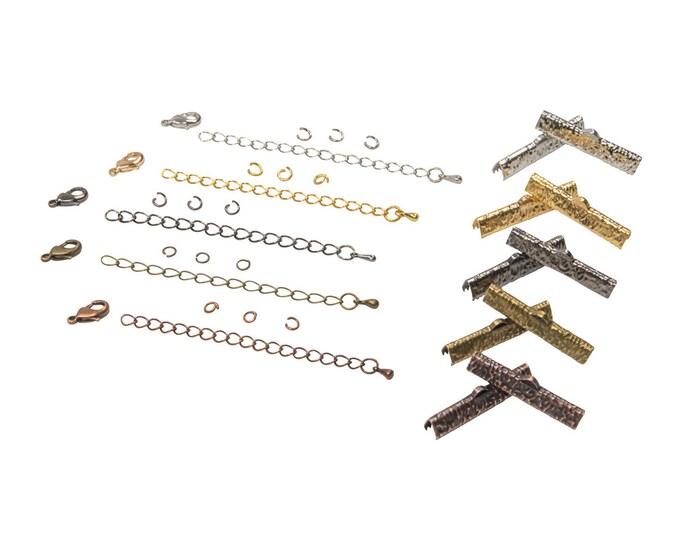 30mm  ( 1  3/16 inch )  Ribbon Choker or Ribbon Bracelet Findings Kit - Bronze, Gold, Silver, Gunmetal, Copper - Artisan & Dots Series