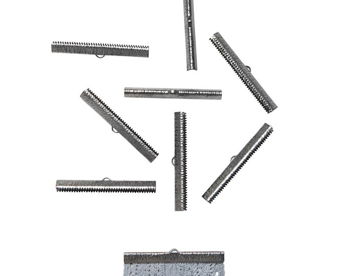 50 pieces  50mm  (2 inch) Gunmetal Ribbon Clamp End Crimps - Artisan Series