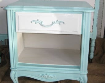 NIGHTSTAND French Apt. Boudoir Bedside Table Vintage French Provincial Poppy Cottage Custom PAINT to ORDER