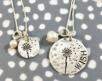 Dandelion WISH necklace, mother daughter dandelion wish necklace, necklace set, hand stamped, gift for mom, gift for daughter, tagyoureit