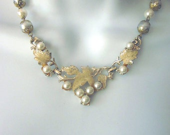 Assemblage Pearl Necklace One of a Kind Wedding Jewelry