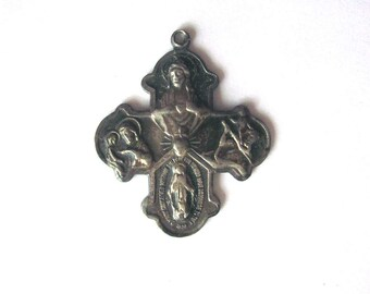 Vintage Sterling Creed Cross Medal Four Way Cross I am a Catholic Call a Priest