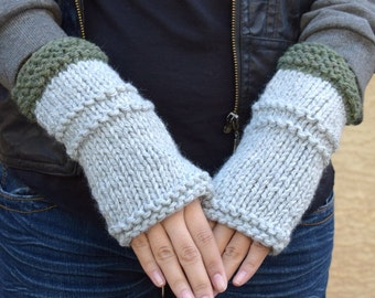 Chunky arm warmers light gray moss green fingerless gloves gift for her gift under 35 Valentines Day girlfriend gift hand knit gloves