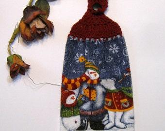 Snowman, Hanging Towel, Kitchen supplies, Winter Scene, Christmas Gift, Hostess Gift, Handmade by NormasTreasures