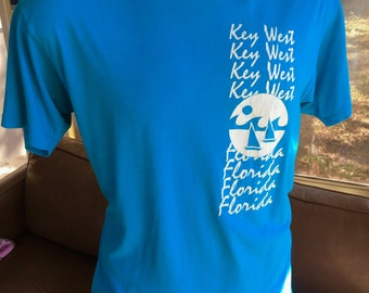 Key West Florida 1980s soft and thin vintage tee shirt - blue size large