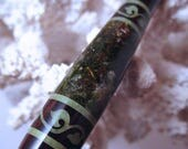 """RESERVED - The """"Chloe"""" Vine Hair Stick Featuring African Blackwood with Moss and Pearl Essence Resin Insets Inlaid with Peridot"""