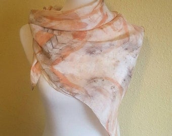 Naturally Eco-Printed Square Silk Scarf, Naturally Dyed with Eucalyptus Leaves