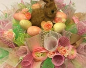 Ready to Ship Easter Bunny Centerpiece ,  Green and Pink Centerpiece , Deco Mesh Easter Centerpiece , Easter Bunny Arrangement