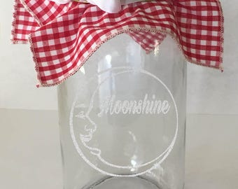 Mason Jar - Moonshine - Etched Glass - Canning Jar - Country Housewarming Gift - Fall Canning - Rustic Kitchen Decor - Barware Glasses