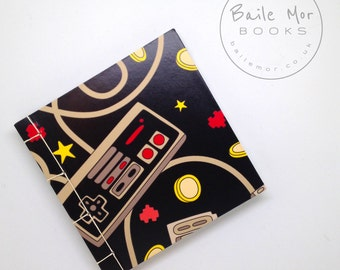 Handmade sketchbook or notebook, retro video game, pocket size, nintendo, sega, gamer gift