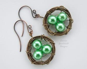 Birds Nest earrings, birds nest jewelry, nest with eggs, birds nest earrings, wire nest earrings, aqua pearl earrings, easter earrings