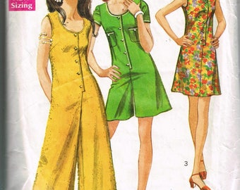 70s Jumpsuit or Mod Dress Pattern Simplicity 8744 Bust 34 Pantdress Jumpsuit Sleeveless Mod Dress  Vintage 1970 Sewing Pattern