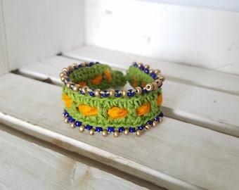 Bohemian Crocheted and Beaded Bracelet, Hemp, Gypsy, Artsy