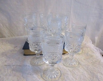 Anchor Hocking Wexford Glass Water/Wine Goblets Set of 7