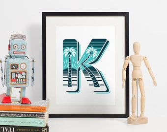 Letter K Print, Monogram Wall Art, Typography Print, Graphic Initial Poster, Wall Letter