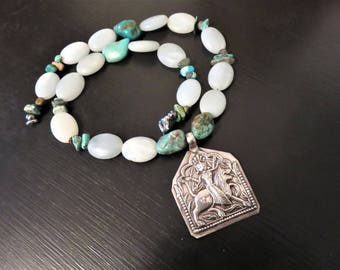 Vintage Repousse Sterling, India Goddess Durga Pendant, Amazonite and Turquoise Necklace