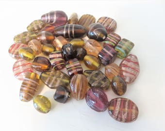 Brown glass beads, 40 Lamp Work beads,   glass bead lot