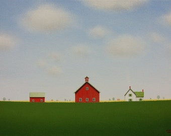 "Red BARN Painting Old Farmhouse PAINTING  12 x 16"" Farm Painting Original Farm Landscape Painting Folk Art Painting Old Red Barn Painting"
