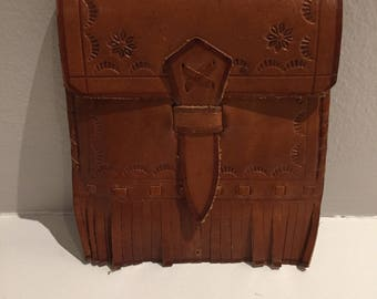 Vintage tooled leather coin purse western fringe gift card holder