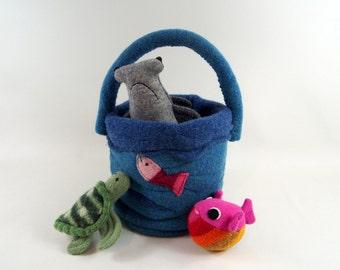 toy bag, waldorf toy, toy animal, stuffed animal, stuffed toy, waldorf animal, toy bag, wool bag, sea creatures, toy fish,