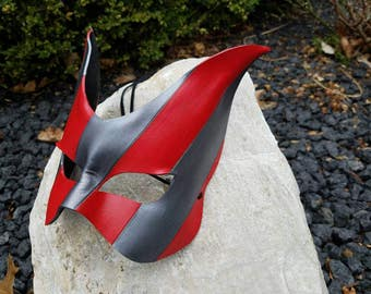 Red and Grey Leather Cat Masquerade Mask