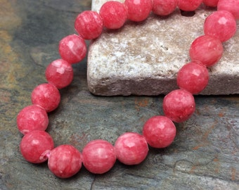 8MM Rhodochrosite Jade Semi-Precious Faceted Gemstones, 26 Beads