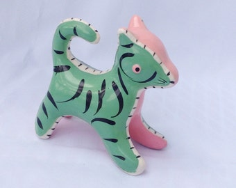 Vintage pink and green patchwork kitty cat feline figurine. Ceramic. Knick knack.
