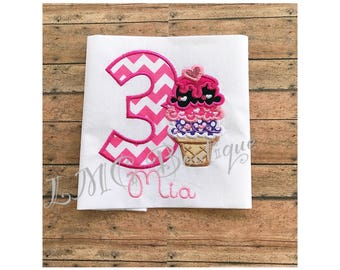 Ice cream birthday shirt - Personalized Ice cream Birthday Shirt Number - Ice cream birthday shirt - Ice Cream Applique Shirt with number