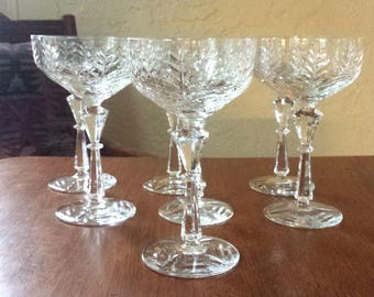 Crystal Wine Coupe, Cut Glass Champagne Coupe, Set of 7 Glasses